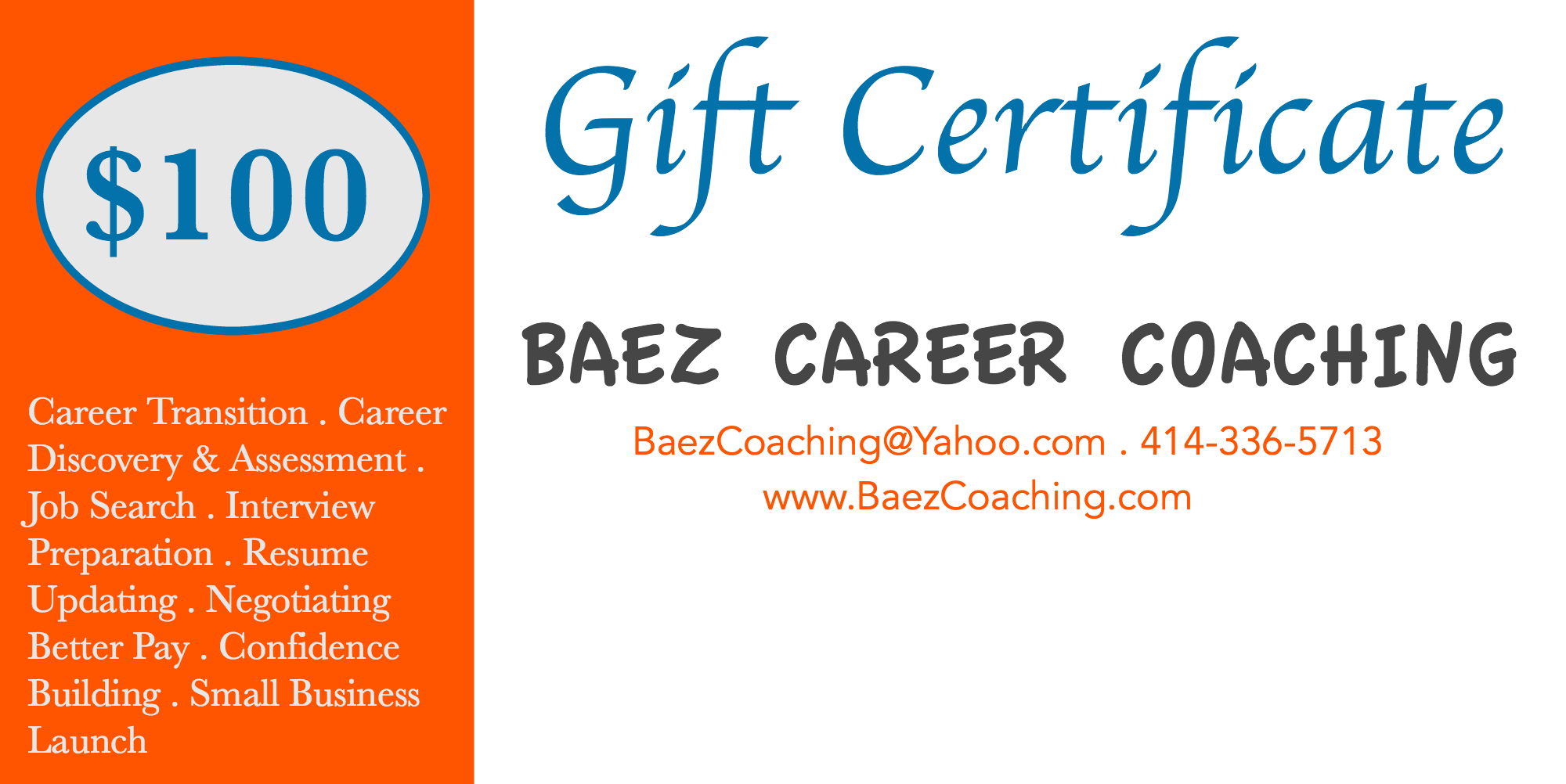 Gift Cards | Baez Coaching & Consulting